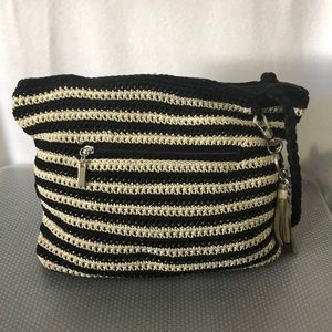 Women shoulder bag two tones black & cream